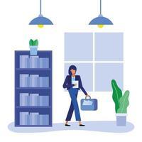 platt design kvinna som arbetar på kontoret