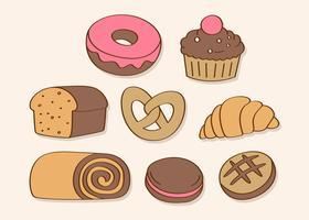 Hand gezeichnete Bonbons und Süßigkeit vektor