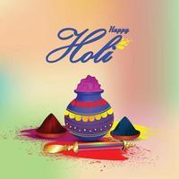 Happy Holi-Konzept mit Farbschlammtopf vektor