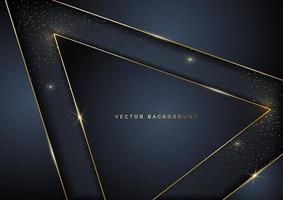 geometrische Überlappungsschicht des Luxusdreiecks der abstrakten Schablone auf dunklem Hintergrund mit Glitzer und goldenen Linien mit Kopierraum für Text. vektor