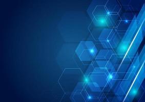 abstrakt teknik futuristisk hexagon överlappande mönster med blå ljuseffekt på mörkblå bakgrund. vektor