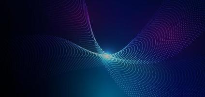 abstrakte futuristische Partikellinien greifen auf blauen Hintergrund mit Lichteffekt ein. Technologiekonzept. vektor