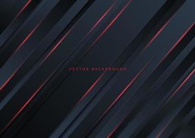 abstrakte Schablone dunkle Streifen mit rotem Neonlicht mit Kopierraum für Text. Technologiekonzept. vektor