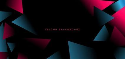 abstrakte Vorlage rot blau geometrische Dreiecke auf schwarzem Hintergrund mit Platz für Ihren Text. modernes Design. vektor