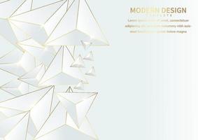 abstrakt lyxig triangel av geometriskt guld som överlappar varandra på vit bakgrund med kopieringsutrymme för text. vektor