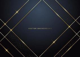 geometrische Überlappungsschicht des Luxusquadrats der abstrakten Schablone auf dunklem Hintergrund mit Glitzer und goldenen Linien mit Kopierraum für Text. vektor