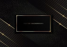 abstrakte Rahmenstreifen goldene Linien diagonale Überlappung auf Punkt Gold Glitter schwarzer Hintergrund. Luxusstil. vektor