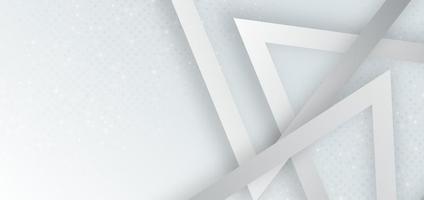 abstrakte graue und weiße geometrische Dreiecksform, die mit Punktdekoration und Schattenhintergrund überlappt. vektor