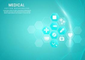 abstraktes blaues Sechseckmuster und Wellenlinienhintergrund. Medizinisches und wissenschaftliches Konzept und Gesundheitssymbolmuster. vektor