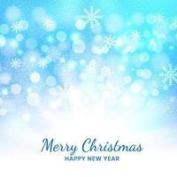 Weihnachtsblauer Hintergrund von Schneeflocken und Bokeh. vektor