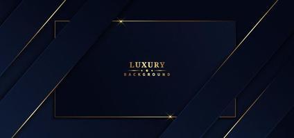 abstrakte Vorlage blauer Rahmen Streifen goldene Linien diagonale Überlappung Hintergrund. Luxusstil. vektor