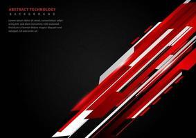 abstrakt teknik geometrisk röd och svart färg med rött ljus på svart bakgrund. vektor
