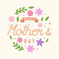 platt glad mödrar dag kort vektor
