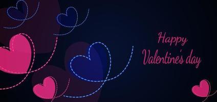 Valentinstag Hintergrund. Herzen rosa und blau mit Herzlinie auf dunkelblauem Hintergrund mit Kopierraum für Text. Valentinskonzept. vektor