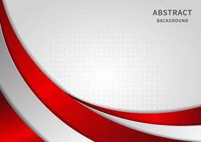 rote und graue Kurve der abstrakten Schablone auf weißem Hintergrund. Technologiekonzept. vektor