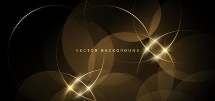 abstrakte goldene Kreislinien, die sich auf dunklem Hintergrund überlappen. Luxuskonzept. vektor