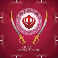 glad guru gobind singh jayanti firande med sikh symbol khanda sahib vektor