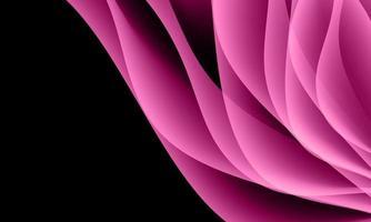abstrakt rosa kurvvågöverlappning på svart med tomt utrymme bakgrundsvektorillustration. vektor illustration.