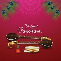 vasant panchami kreativer hintergrund mit saraswati veena und büchern