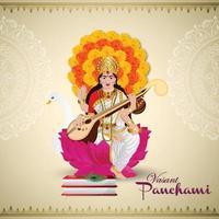 glücklicher Vasant Panchami Grußkartenentwurf mit kreativer Illustration der Göttin Saraswati