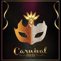 Karnevalsparty-Grußkarte mit Maske mit Hintergrund vektor