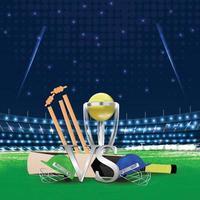 Cricket-Sportstadion mit Schläger und Ball auf dem Boden vektor