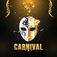 Karnevalsparty mit goldener Kalligraphie vektor