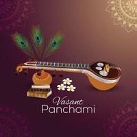 kreative Illustration der Göttin Saraswati glücklich Vasant Panchami