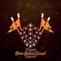 glücklicher guru gobind singh jayanti grußkarte vektor