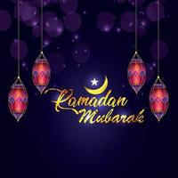 islamisk måne med kreativ lykta och gyllene text vektor