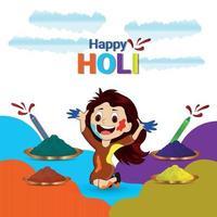 lycklig holi festival gratulationskort vektor