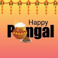 Appy Pongal Grußkarte Hintergrund vektor