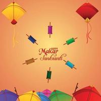 Happy Makar Sankranti Banner oder Header mit Laddoo und schönen Drachen
