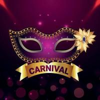karneval part gratulationskort med mask på lila bakgrund vektor