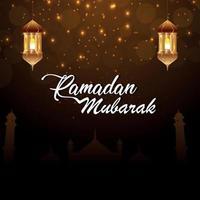 ramadan kareem eller eid mubarak gratulationskort vektor