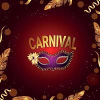karnevalsfest med gyllene kalligrafi vektor