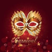 gyllene mask för karnevalsfirande vektor