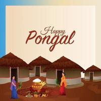 glückliche pongal Grußkarte mit Schlammtopf Reis und Hintergrund