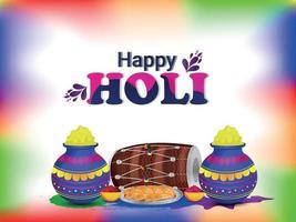 Happy Holi mit buntem Schlammtopf und Trommel vektor