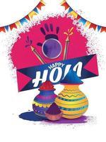 Happy Holi mit Farbschlammtopf und Trommel mit Farbpistole vektor