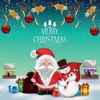 god jul och lyckligt nytt år firande gratulationskort vektor