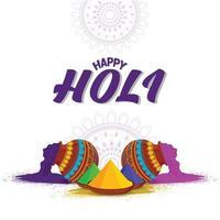 Holi Hintergrundkonzept mit Farbpistole, Schlammtopf mit Farbe und Farbschale vektor