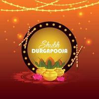 glad dhanteras, glad diwali firande bakgrund med diya och guldmynt vektor