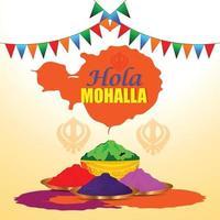 Happy Holla Mohalla mit Pulverschlammtopf und Farbpistole vektor