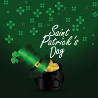 Saint Patrick's Day Design mit Kleeblatt und Münze vektor