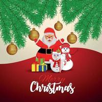 röd bakgrund för god jul med gyllene bollar vektor