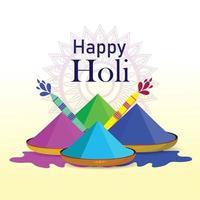 Happy Holi kreative Schriftart mit Farbschlammtopf und Trommel