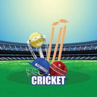 Cricket-Match-Konzept mit Stadion und Hintergrund