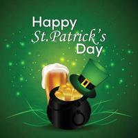 Saint Patrick's Day Design mit Kleeblatt, Topf und Münze vektor