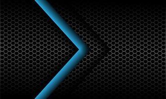 abstrakte blaue Pfeilrichtung auf dunkelgrauer metallischer Sechseckmaschenmusterentwurf moderne futuristische Hintergrundvektorillustration. vektor